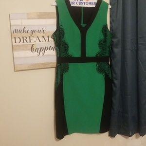 Green with lace embellishment dress